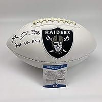 $149 » Autographed/Signed Josh Jacobs Just Win Baby Las Vegas Raiders FS White Panel Logo Football Beckett BAS COA