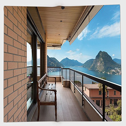 Cotton Microfiber Hand Towel,Modern Decor,Lugano Lake Panoramic View From Terrace of Apartment Mountains and Sea,Light Brown Blue,for Kids, Teens, and Adults,One Side ()