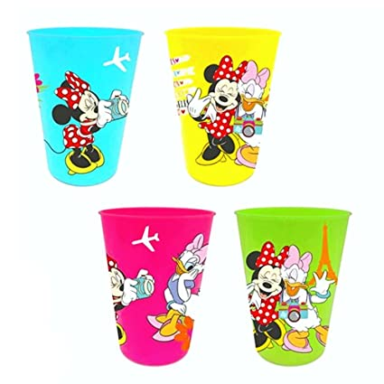 Set De 4 Vasos Para Ninos Disney Minnie Mouse Taza Reutilizable