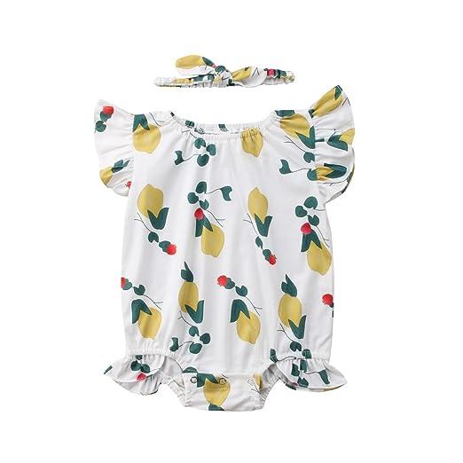 74274cc4179b FOCUSNORM Baby Girls  Floral Print Cotton One Piece Bubble Romper Summer  Clothes (Lemon Floral