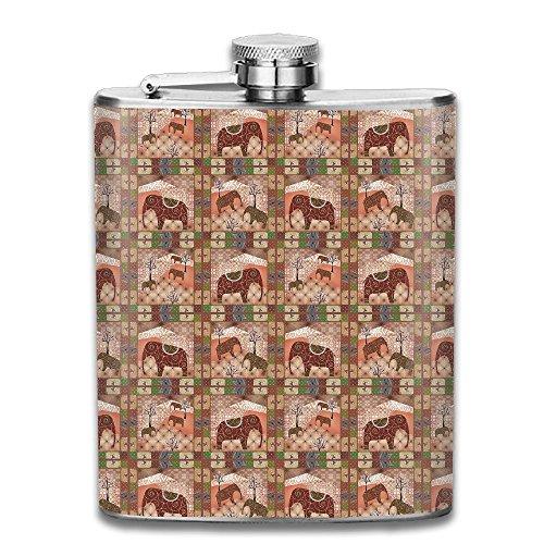Ancharpin Ethnic Indian Bohemian Elephant Tree Pocket Leak Proof Liquor Hip Flask Alcohol Flagon 304 Stainless Steel 7OZ Gift Box Outdoor