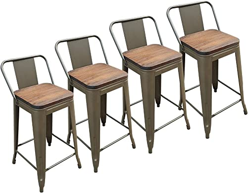 24 Inches Metal Barstools with Wood Seat Top and Low Back, Set of 4 Modern Industrial Counter Height Indoor Outdoor Stools Bronze
