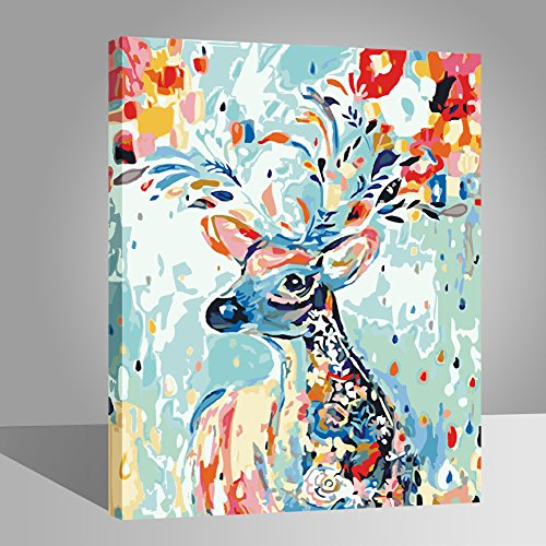 LIUDAO Paint by Number Kit Oil Painting for Kids and Adults Beginner - Rainbow Deer (16x20 inch,Wooden Framed) ()