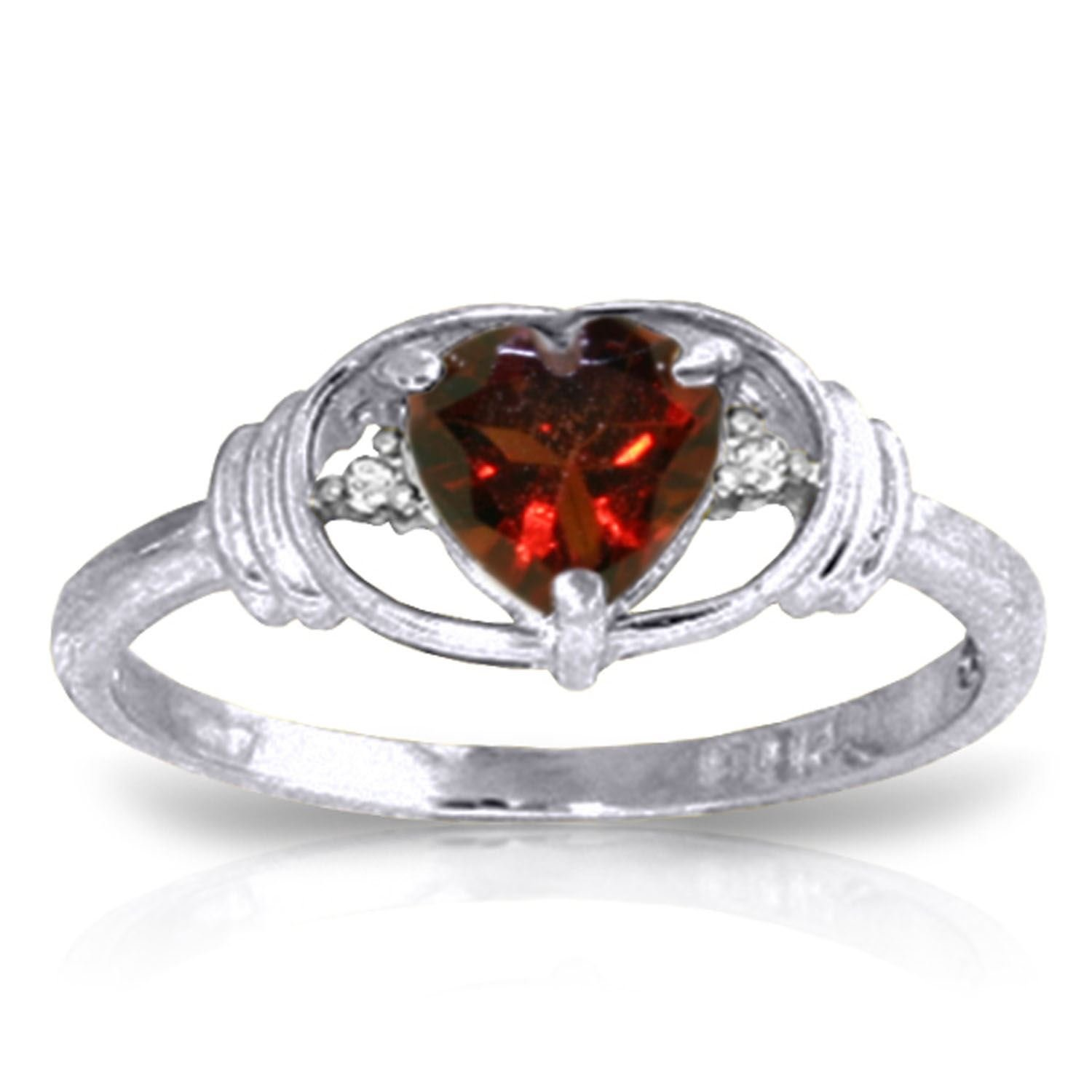 ALARRI 0.96 CTW 14K Solid White Gold Love So High Garnet Diamond Ring With Ring Size 5
