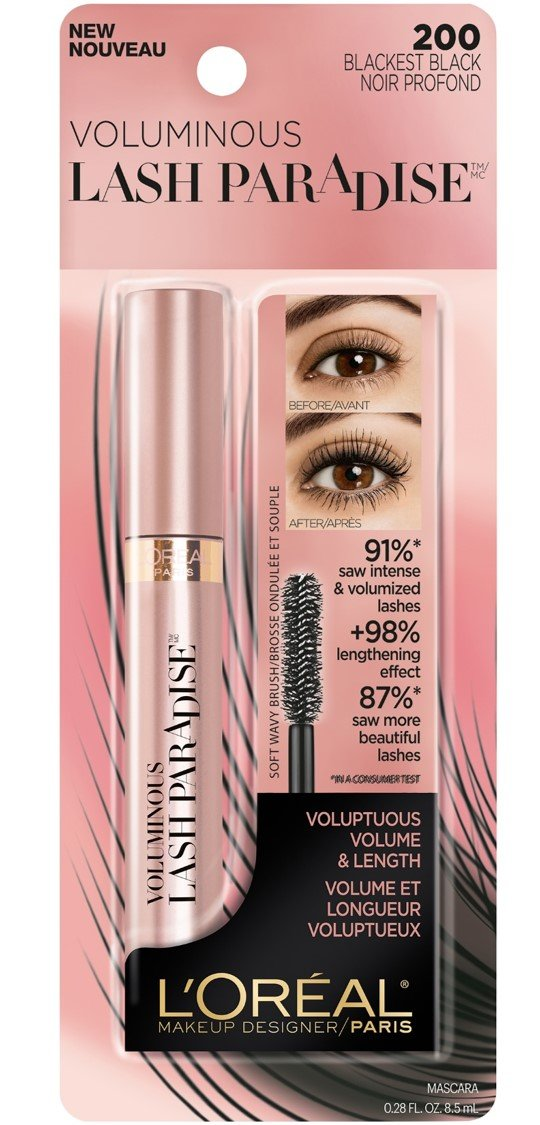 7eb282139cc Amazon.com : L'Oreal Paris Voluminous Lash Paradise Washable Mascara,  Blackest Black 0.28 oz : Beauty