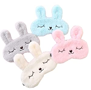 4 Pack Cute Animal Rabbit Sleeping Eye Mask Soft Plush Blindfold Sleep Masks Eye Cover for Kids Girls Women Home Sleeping Traveling