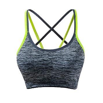 ZHANGZHIYUA Sujetadores Deportivos Acolchados Desmontables para Mujer Sujetador de Yoga para Ejercicios de Soporte Mediano: Amazon.es: Deportes y aire libre