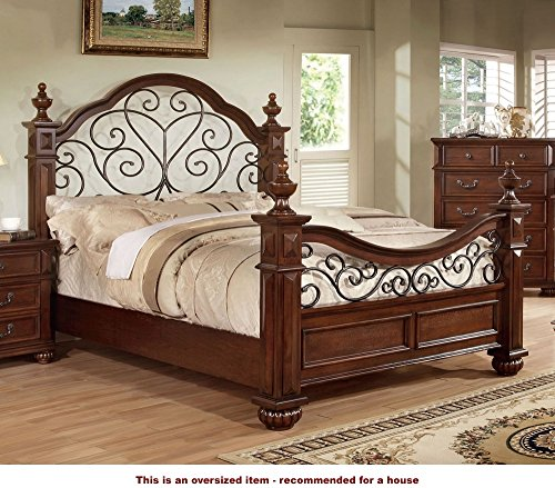 Cal King Poster Bedroom Set (247SHOPATHOME Idf-7811CK Four-Poster-Beds, California King, Oak)