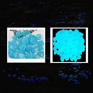 50Pcs Glow in the Dark Pebbles, Glow Rocks Outdoor Decor, Glow in the Dark Rocks for Fish Tank, Luminous Stones Powered by Light and Solar, Decorations for Walkways, Gardens, Backyard Walkway (Blue)