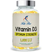Vitamin D3 1000IU by Rite-Flex - Bone and Immune System Support - Non-GMO & Gluten Free - Optimum Potency at 1000 IU - 365 Easy-to-Swallow Softgels for Full Year Protection and Nourishment