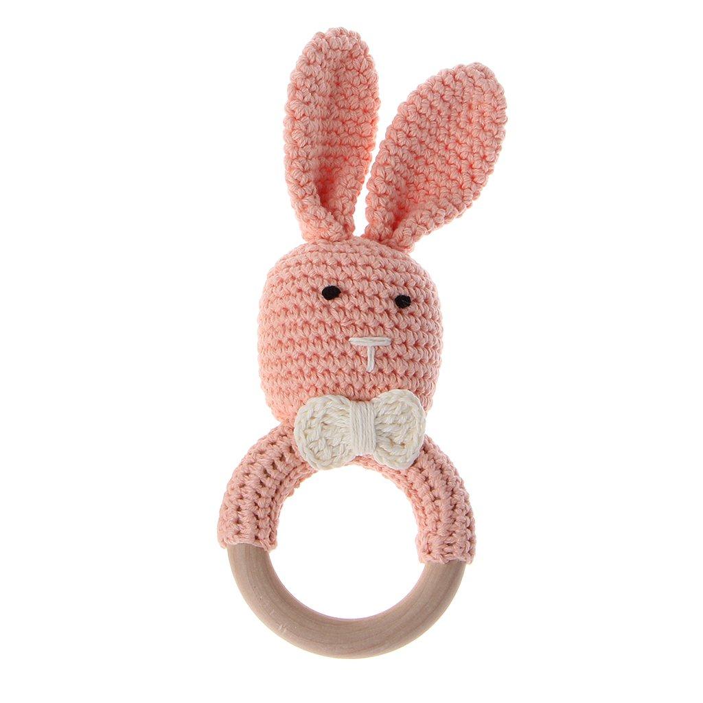 Mentin Anneau de dentition jouet en bois Cercle Eco-Friendly Montessori dentition Bunny oreille dentition Gift Set Bague organique Bleu clair
