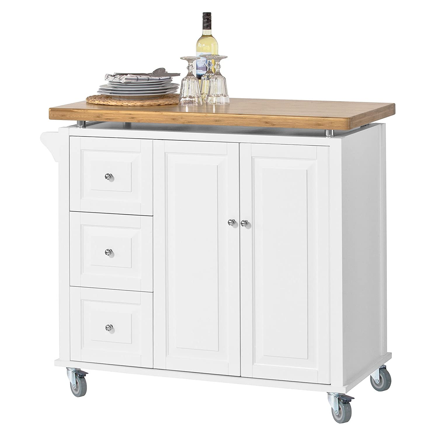 Sobuy fkw30 wn new luxury kitchen cart kitchen island kitchen cabinet with bamboo worktop 3 drawers and 1 cupboard amazon co uk kitchen home