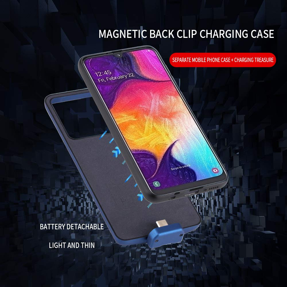 Bestgay Battery Case for Samsung Galaxy A50 7000mAh Portable Protective Charging Case Extended Rechargeable Battery Pack Charger Case Compatible with Samsung Galaxy A50 Blue