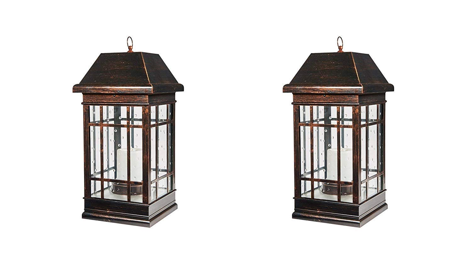 Smart Solar 3900KR1 San Rafael Mission Style Solar Lantern, Lantern is Illuminated by 2 High Performance Warm White LEDs in The Top, 22-Inch, Antique-Bronze (Pack of 2) by Smart Solar (Image #1)