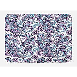 Ambesonne Paisley Bath Mat, Blue and Purple Flowers Leaves Floral Pattern Bohemian Style Country Print, Plush Bathroom Decor Mat with Non Slip Backing, 29.5 W X 17.5 W Inches, White Purple Blue