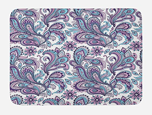Ambesonne Paisley Bath Mat, Blue and Purple Flowers Leaves Floral Pattern Bohemian Style Country Print, Plush Bathroom Decor Mat with Non Slip Backing, 29.5 W X 17.5 L Inches, White Purple Blue