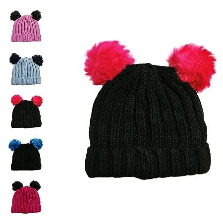 1878f38757e Girls Single and Double Pom Pom Winter Hats Caps Kids Beanies Single Pom  Double Pom Cosy Knitted Beanies (2 POM POM HAT BLACK PINK)  Amazon.co.uk   Kitchen   ...