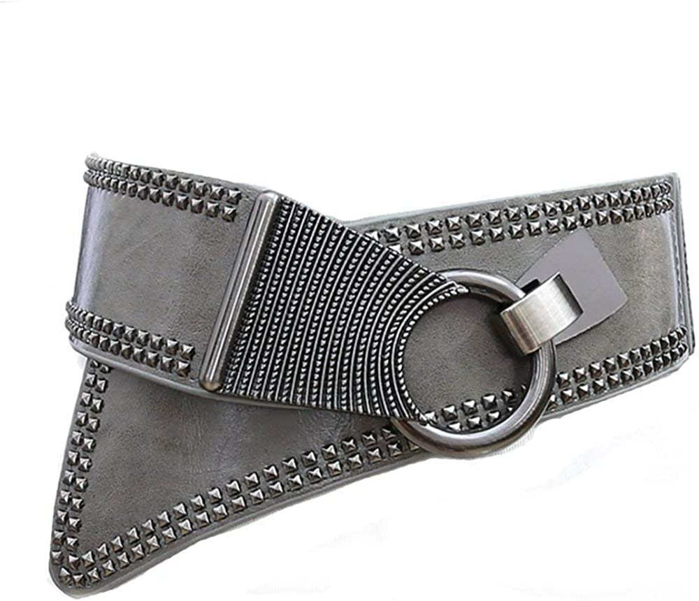 Coolweary Womens/&Ladys Fashion Leather Punk Rivets Studs Wide Elastic Waistband Waist Belt