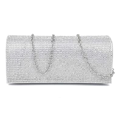 New Full Crystal Diamante Design Evening Clutch Wedding Purse Party Bag ( Silver)  Amazon.co.uk  Shoes   Bags 4b6d25d7b850a