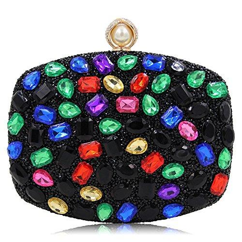 Miss Joy Sac de soirée d'embrayage de soirée de qualité supérieure Sac de cosmétique de Banquet de Luxe Lady pour discothèques de Mariage (Color : Red) Black