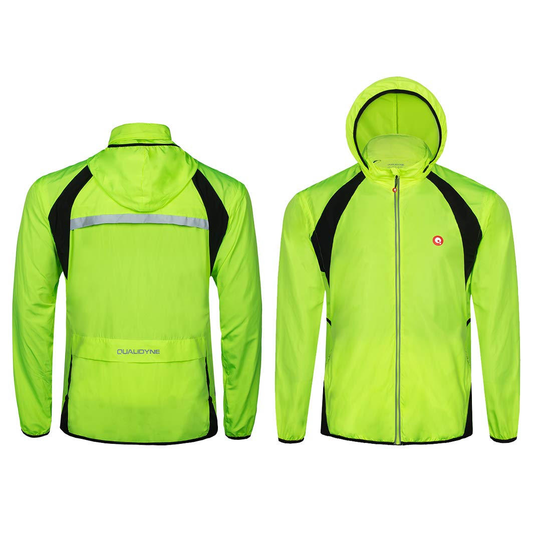 qualidyne Cycle Jacket Mens Waterproof Bike Jackets Hi Viz Cycling Jackets Breathable Windproof Lightweight Cycle Rain Coat with Removable Sleeves
