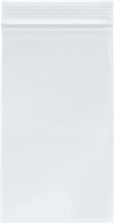 "Plymor Zipper Reclosable Plastic Bags, 2 Mil, 4"" x 7"" (Pack of 100)"