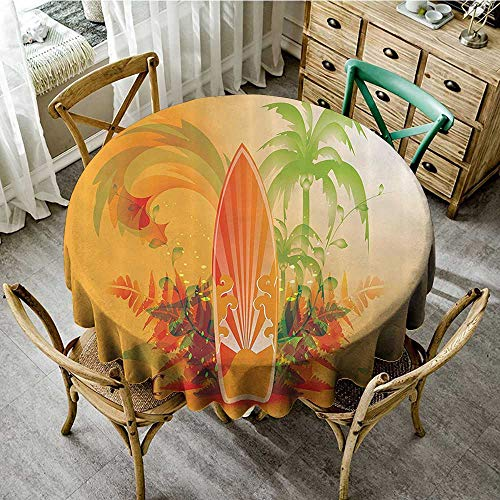(familytaste Natural Tablecloth Surfboard Decor Collection,Surf Background Wave Water Drops Advertise Leaf Activities Destination Fun Party Image,Orange D 70