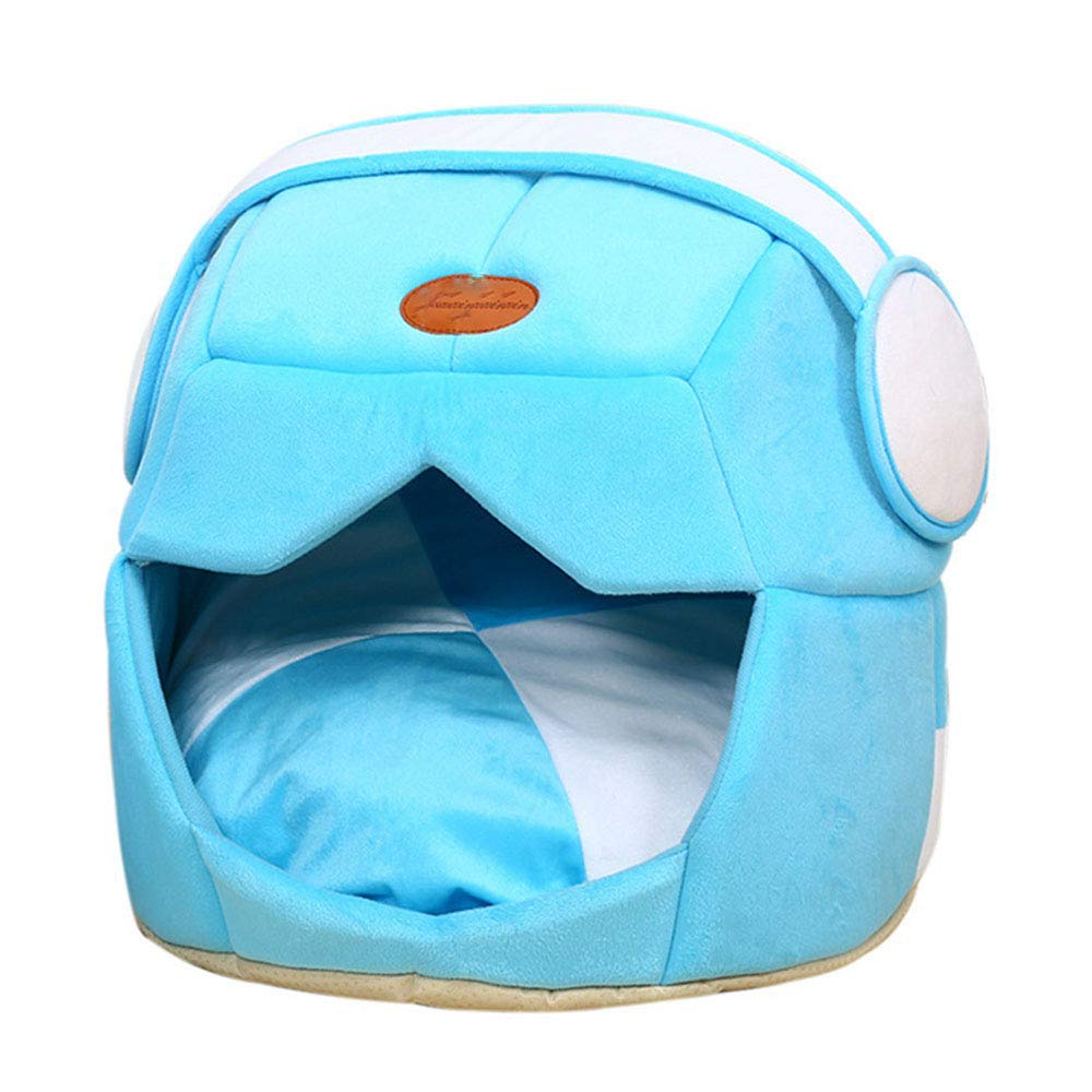 bluee 49x43cm bluee 49x43cm Cookisn Pet Nest 2 Uses Foldable Soft Warm Space Helmet Pet Cat Dog Bed for Dogs Cave Puppy Sleeping Mat Pad Nest Blanket for Cats House bluee 49x43cm