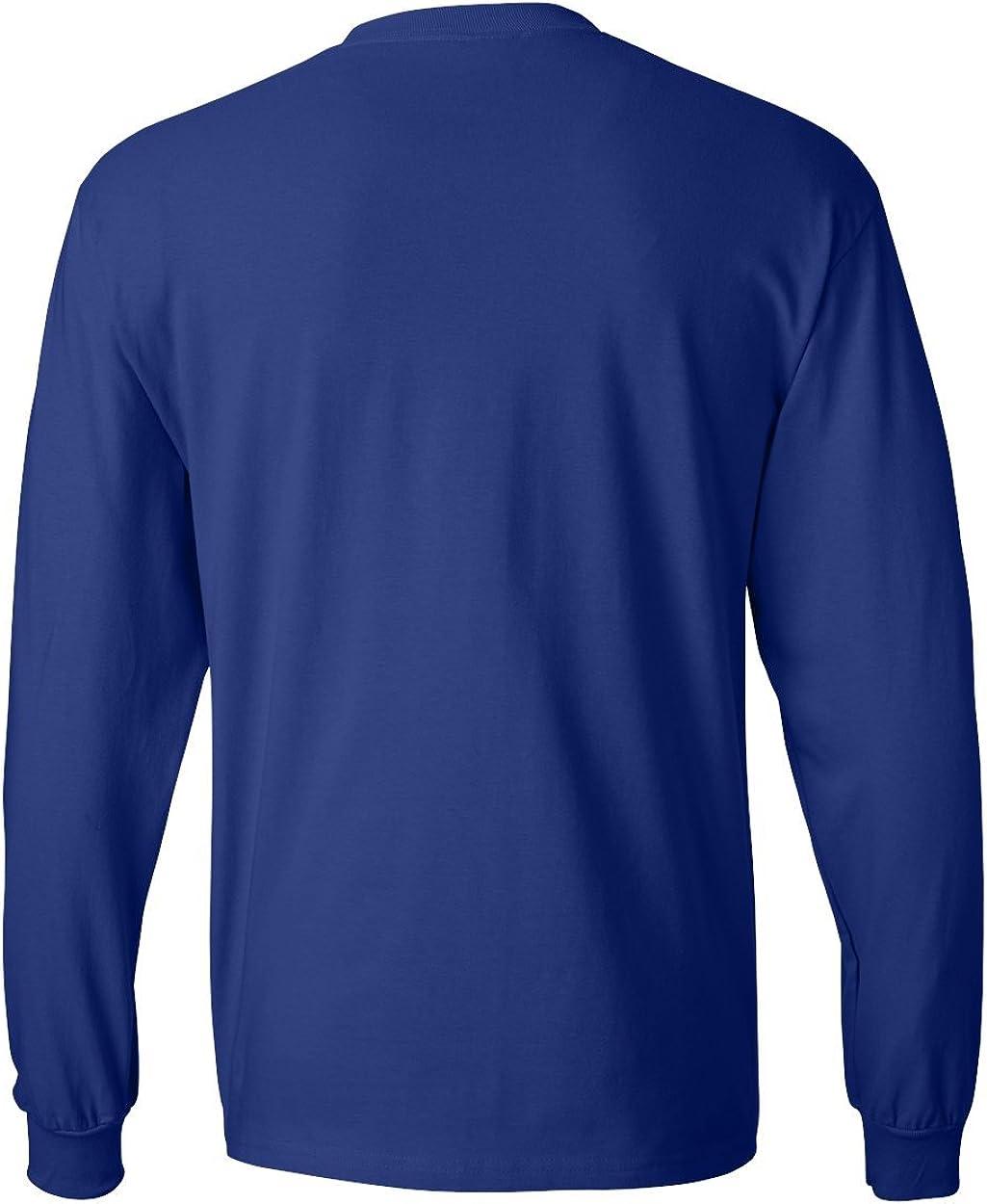 Hanes Men's Long-Sleeve Beefy-T Shirt (Pack of 2) 1 Black / 1 Royal
