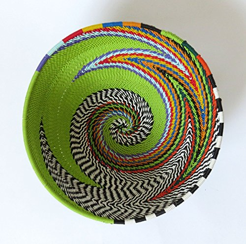African Zulu Telephone Wire - African Zulu woven telephone wire bowl – Small round - Green and multicolour - Gift from Africa