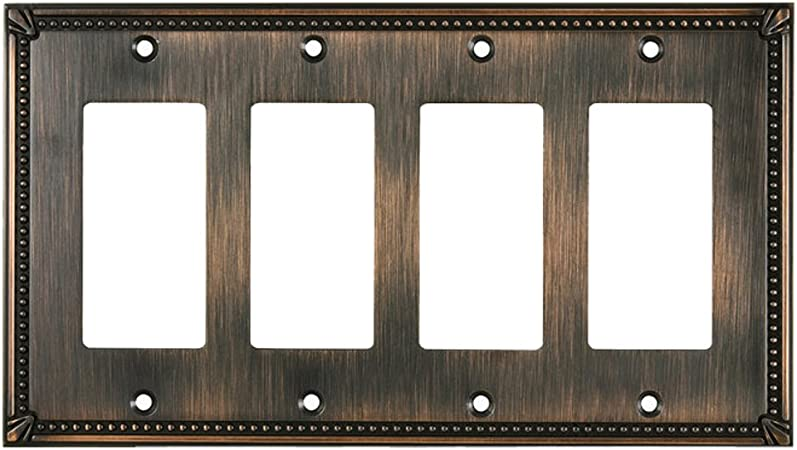 Wall Light Switch Plate Rocker Cover Decorative Brushed Oil-Rubbed Bronze 4 Gang