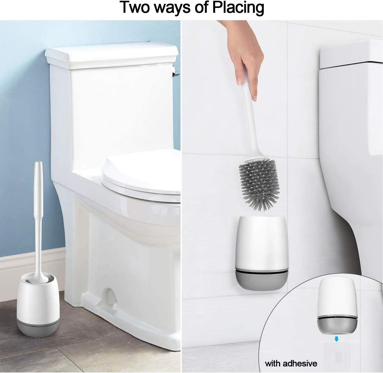 Silikon Toilet Brush Neu Weiche Borsten Wandmontage Boden Stehend für Badezimmer