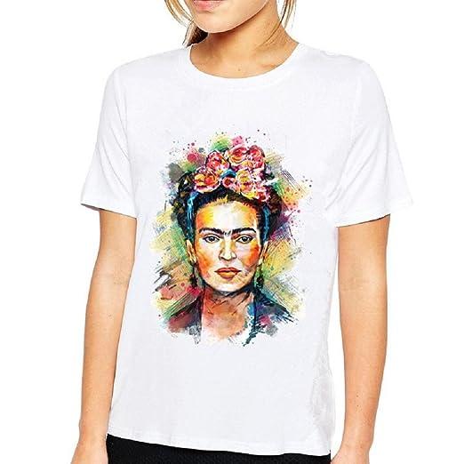 c13a506f Amazon.com: Hoyod Plus Size Frida Kahlo Shirts Personalized Artist Summer  Short Sleeve Graphic Tees Tops White XL: Clothing