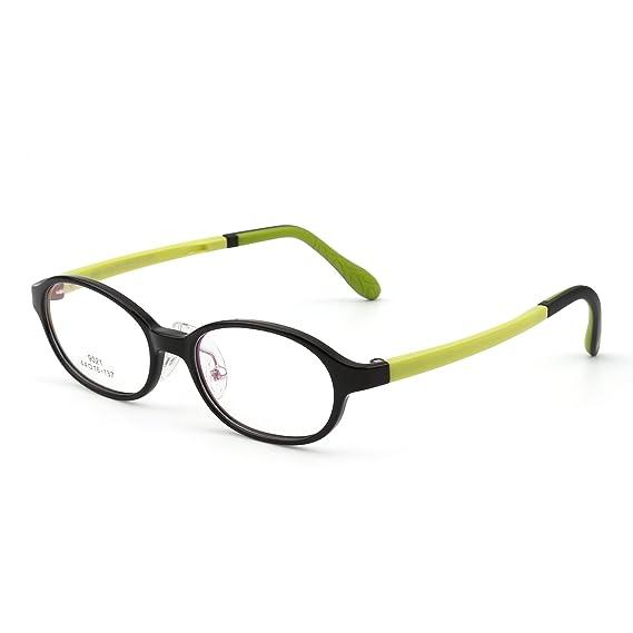 Kinder Rechteck Brillen Optisch TR Rahmen Mädchen Jungen Nicht Verschreibung Klar Linse(Glänzend Schwarz/Klar) zEDR3s3Yyr