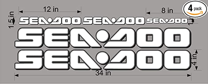REPLACEMENT SEA-DOO-3D YELLOW-LOGO-4x34-DECAL-SET-GRAPHIC-STICKER-PACKAGE