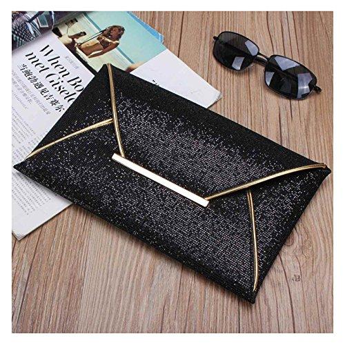 Handtasche Clutch mit Glitzer Abendtasche Hochzeit Party Elegante Unterarmtasche in Gold und Bronze (Gold) Schwarz