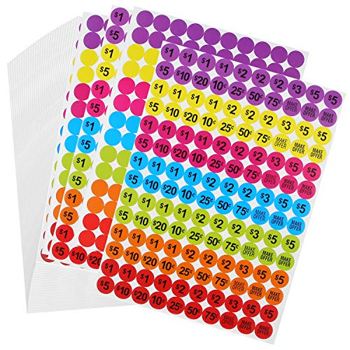 (Ruisita 4200 Pieces Garage Sale Price Stickers Preprinted Pricing Labels and Colored Round Dot Stickers Circle Dot Blank Labels, Neon Colors (Preprinted Pricing Labels and Dot Blank Labels))