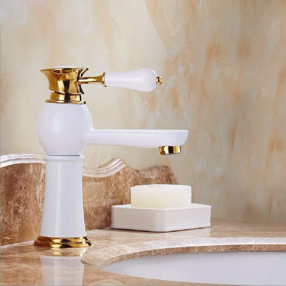 JingJingnet タップキッチンタップ洗面台の蛇口冷たいとお湯のミキサーバスルームのミキサー洗面器のミキサータップ台所や浴室のタップのためのホット&コールド銅ショート (Color : Short) B07SBSGM35 Short