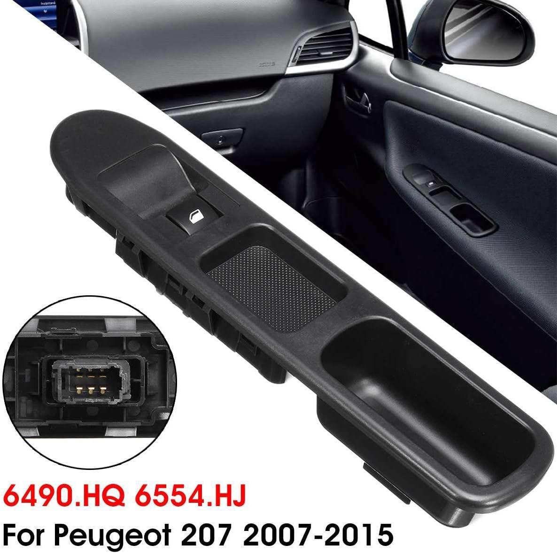 Nosii Interruttore di Comando per finestrino Elettrico Lato passeggero 6 per Peugeot 207 2007-2015 6490.HQ 6554.HJ