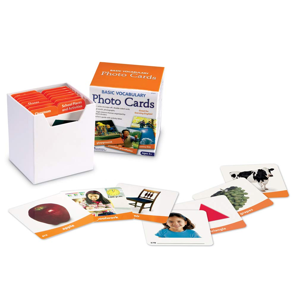 Learning Resources Basic Vocabulary Photo Cards, Vocab/Phonics Learning, 156 Cards, Ages 5+
