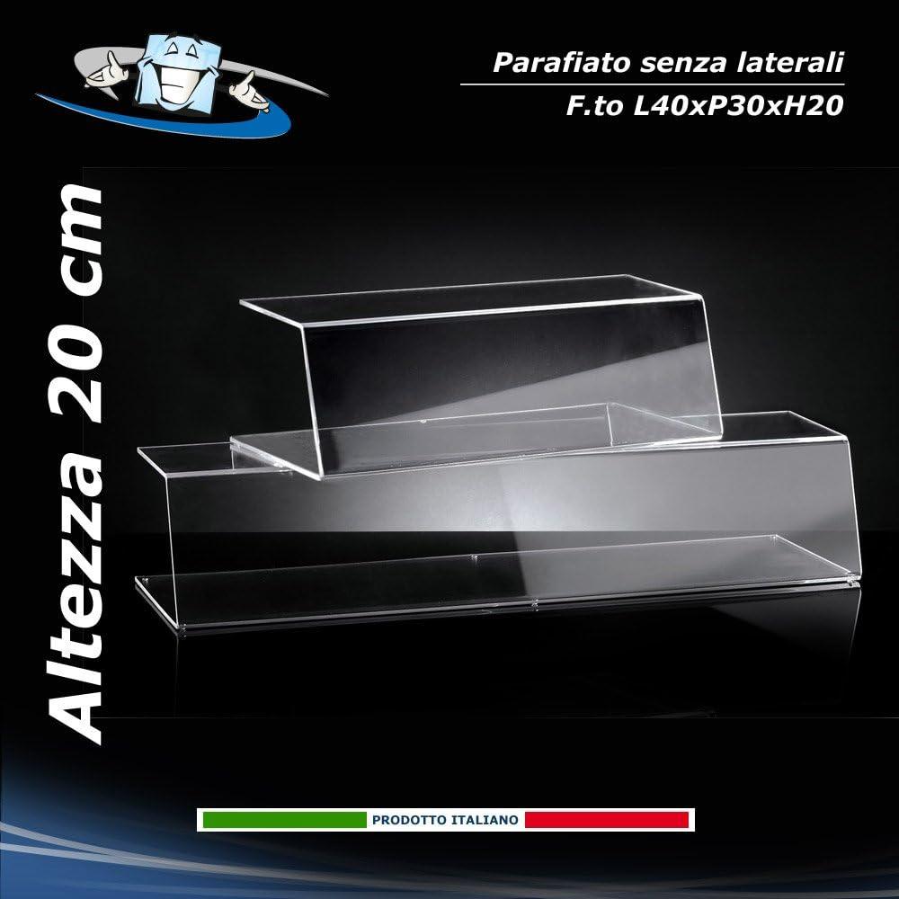 Vetrina per Alimenti Parasputo Circuito AUT AUT Parafiato in Plexiglass L40xP30xH20 cm Aperto su Tre Lati Barriera in plex Trasparente