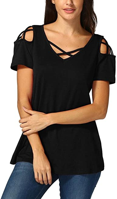 Women Solid Cold Shoulder Lace Tee Top Back Cut Out T-Shirt Ladies Summer Blouse