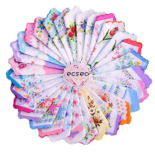 ECSEO Womens/Girls Vintage Floral Wedding Party Cotton Handkerchiefs (30 pieces)