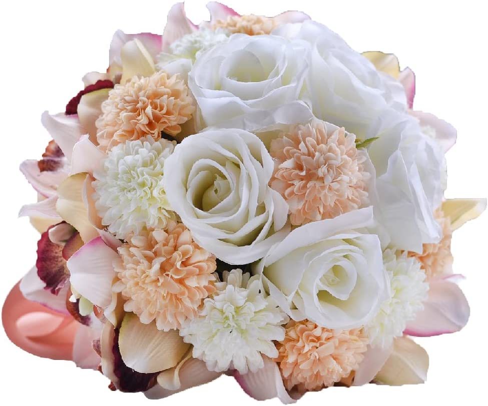 Abbie Home Bride Bouquets - 9 inches Artificial Wedding Flower Roses Toss Holding Bouquet - Rhinestone Ribbon Décor (Champagne White)