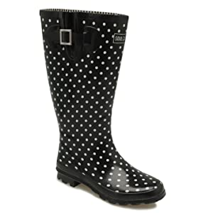 SoulCal Womens Festival Ladies Wellies Print Fashion Wellingtons Casual Shoes Black/White 8.5