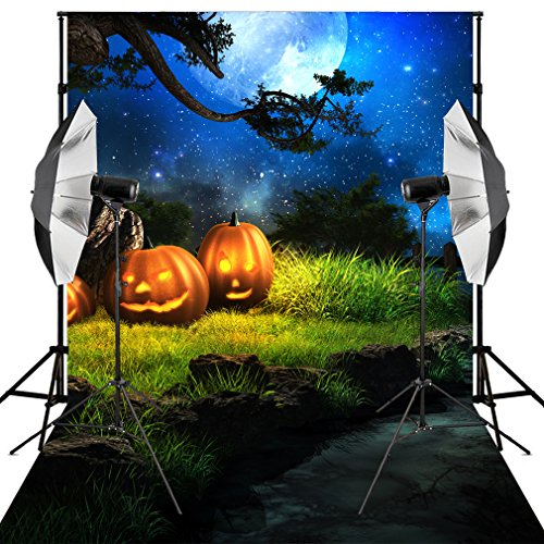 Kooer 6X9ft Bright Stars Halloween Photography Backdrops Old Tree Background Pumpkin Lantern Background for Studio (6X9ft, Multi6) -