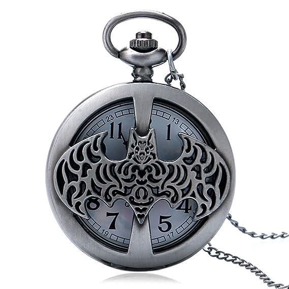 Batman en el área de notificación XIGEYA de Bronce Reloj de bolsillo de la totalidad de la cadena del collar de regalo de Navidad: Amazon.es: Relojes