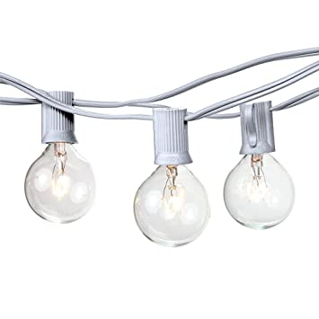 25 foot g40 globe string lights with bulbs white wire by austin light co