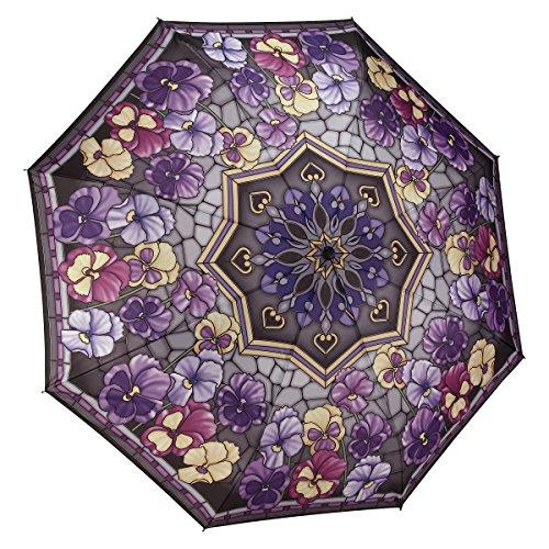 Galleria Folding Umbrella - Galleria Stained Glass Pansies Folding Umbrella