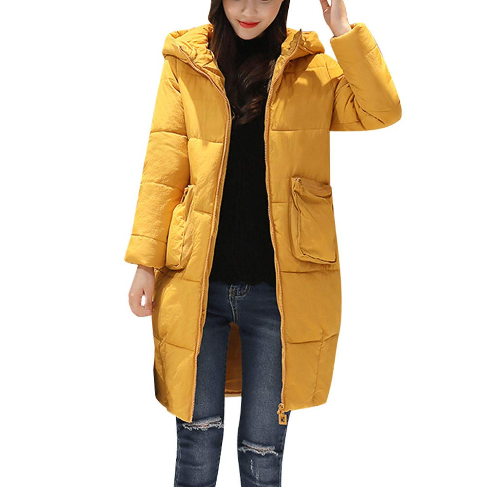 Seaintheson Women's Knee-Length Down Puffer Coat, Winter Warm Faux Fur Hooded Thick Slim Jacket Long Overcoat Yellow